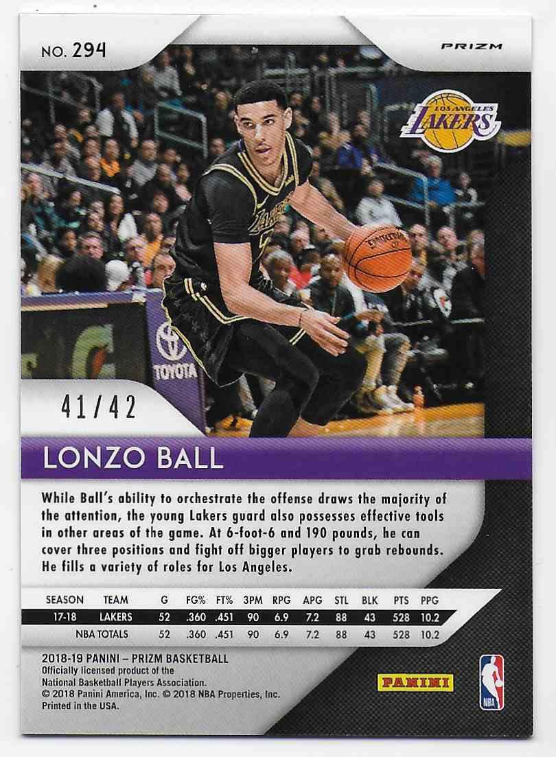 2018-19 Panini Prizm Prizms Pink Pulsar Lonzo Ball #294 card back image
