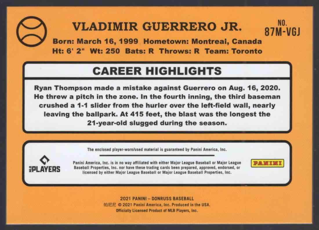 2021 Donruss Retro '87 Materials Vladimir Guerrero JR. #87MVGJ card back image