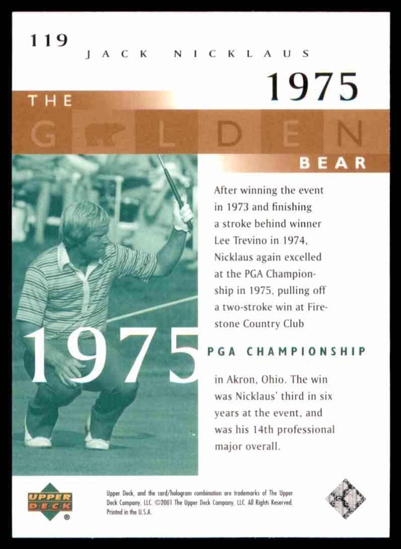 2001 Upper Deck J.Nicklaus Gb 75 PGA #119 card back image