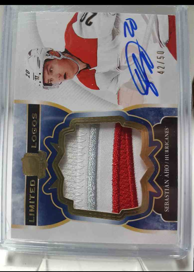 2017-18 Upper Deck The Cup Limited Logos Autographs Sebastian Aho 42/50 #LL-SA card front image