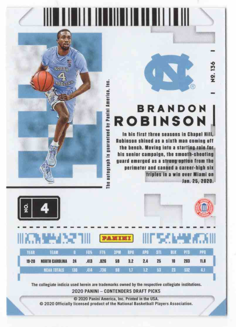 2020-21 Panini Contenders Draft Picks Brandon Robinson #136 card back image