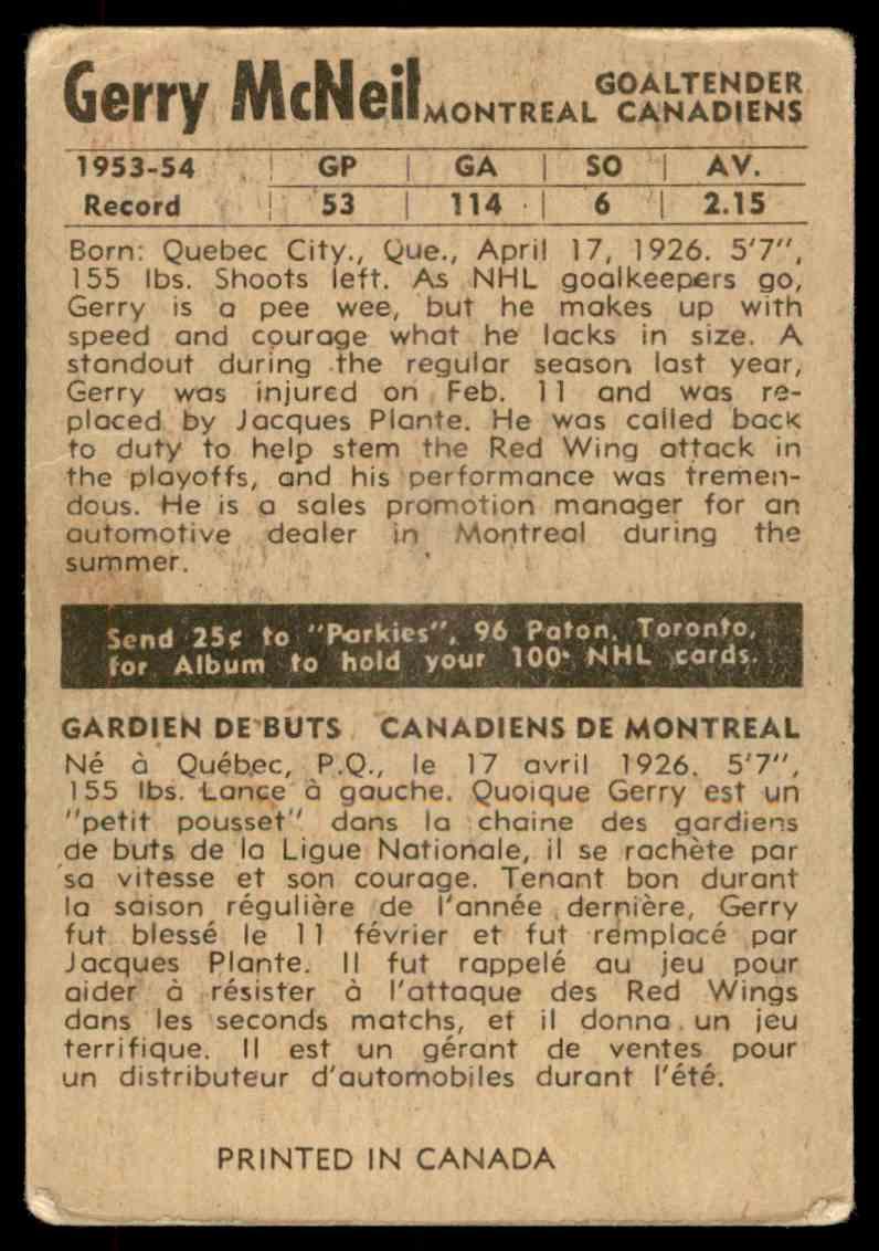 1954-55 Parkhurst Gerry McNeil #1 card back image