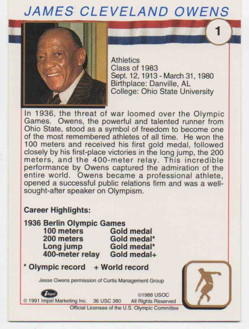1991 Impel U.S. Olympic Hall Of Fame Jesse Owens #1 card back image