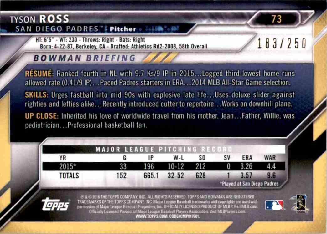 2016 Bowman Purple Tyson Ross #73 card back image