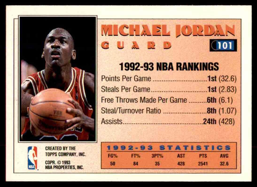 1992 93 Topps All Star Team Michael Jordan 101 On Kronozio
