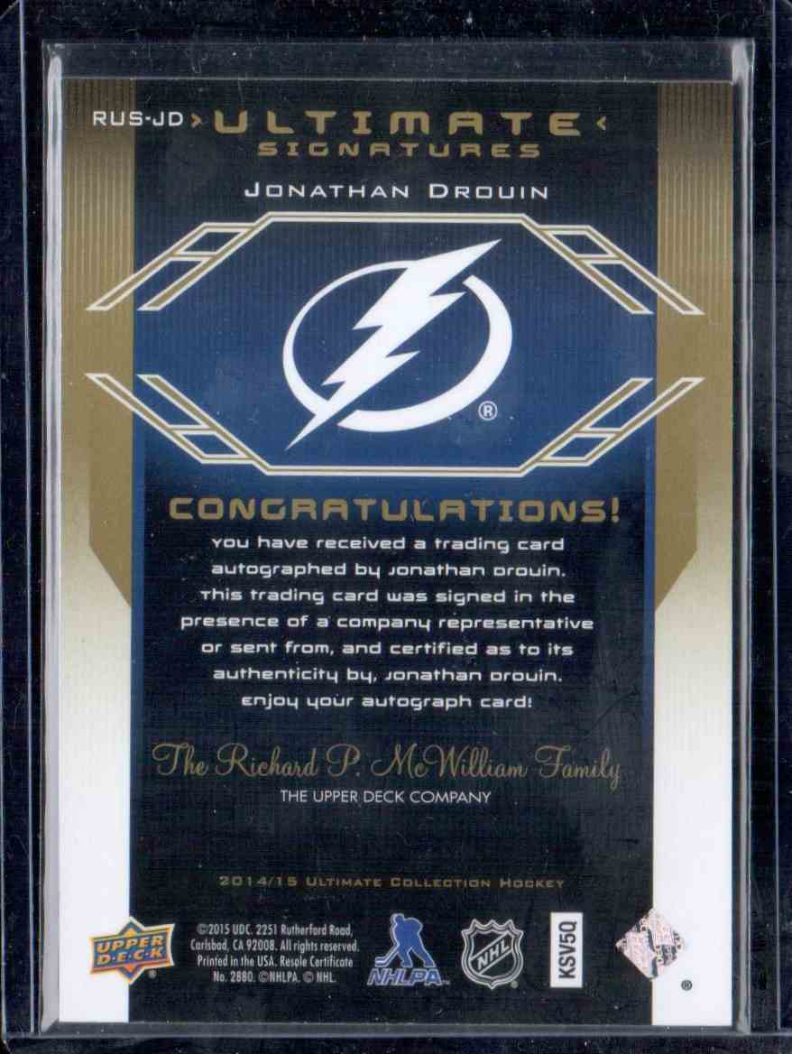 2014-15 Ultimate Collection '04-05 Retro Ultimate Signatures Jonathan Drouin #RUS-JD card back image