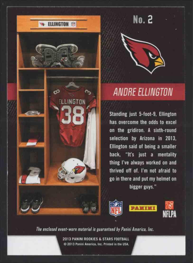 2013 Rookies And Stars Longevity Dress For Success Jerseys Andre Ellington #2 card back image