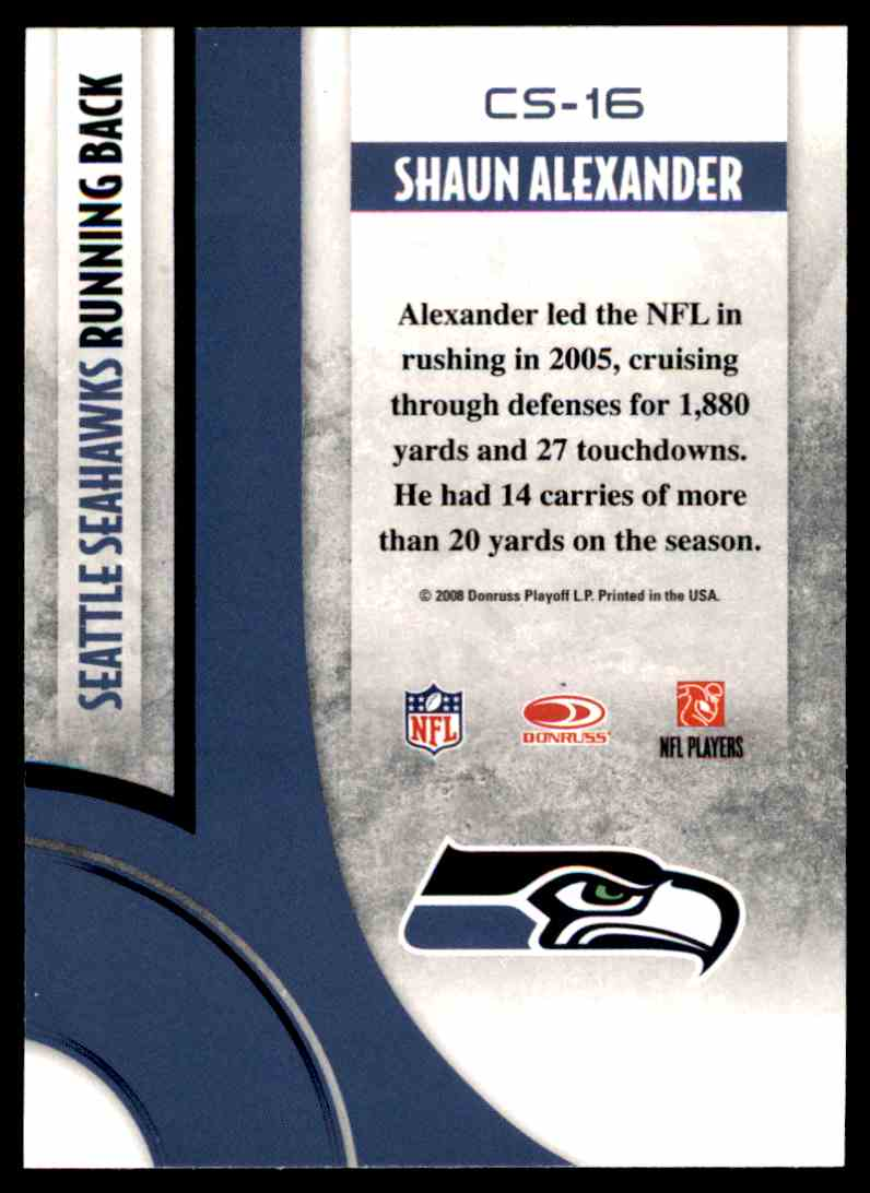2008 Donruss Threads Century Stars Shaun Alexander #CS-16 card back image