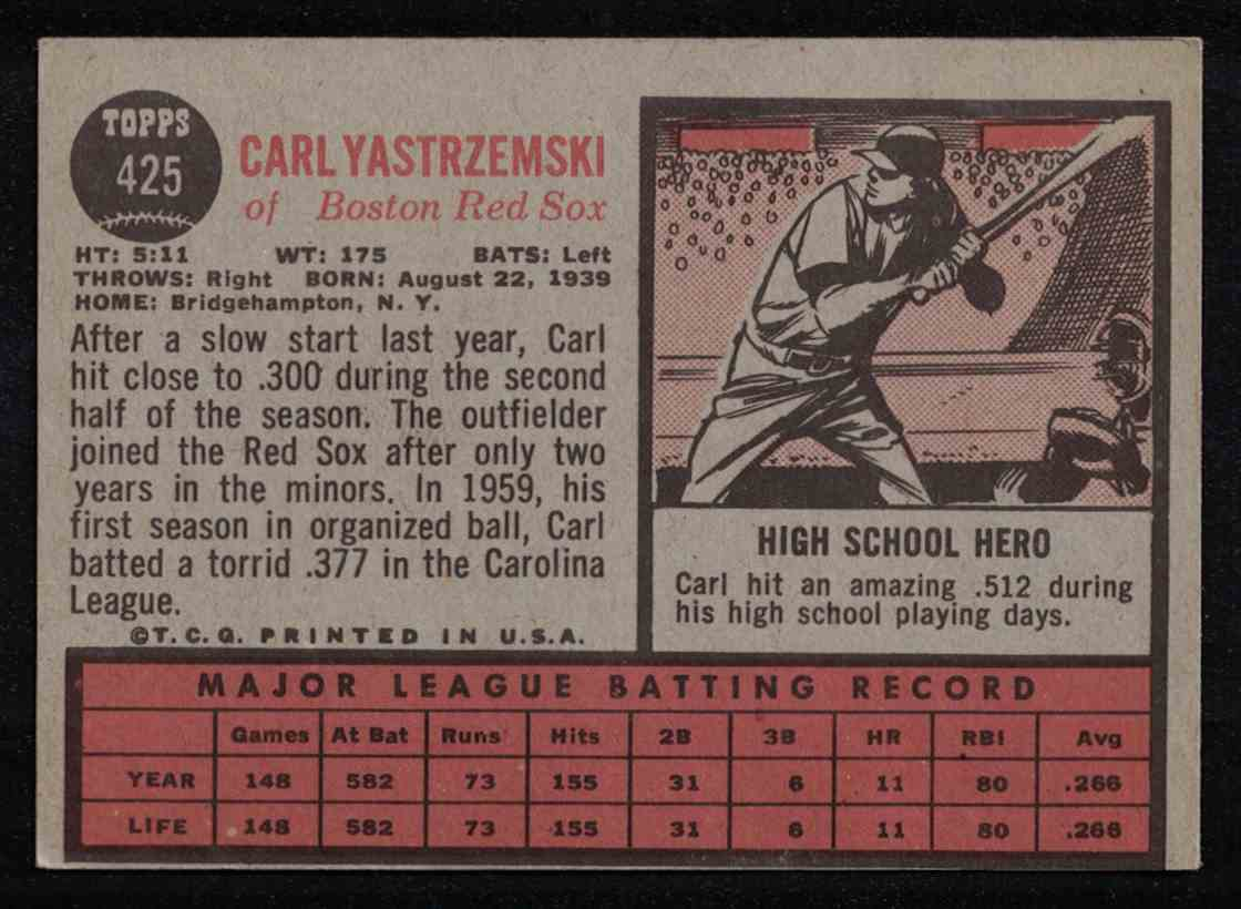 1962 Topps Carl Yastrzemski EX Print Error Blurry Front #425 card back image