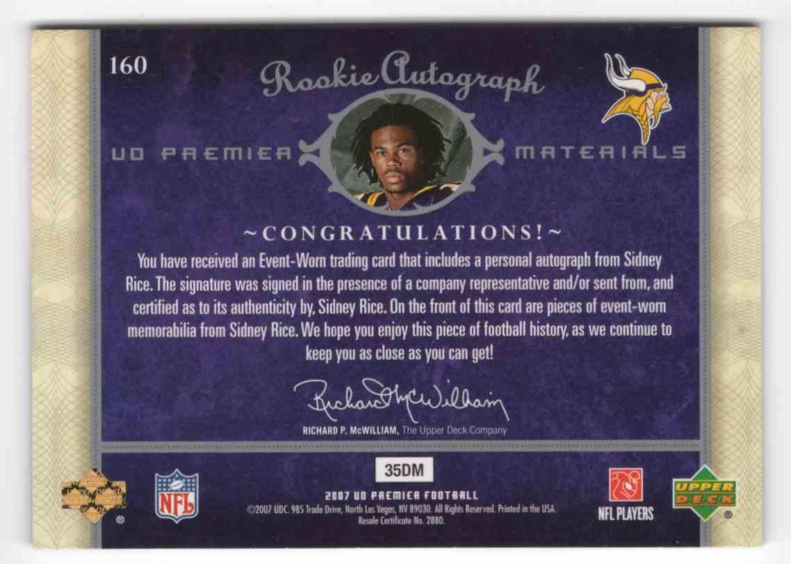 2007 Upper Deck Premier Sidney Rice #160 card back image