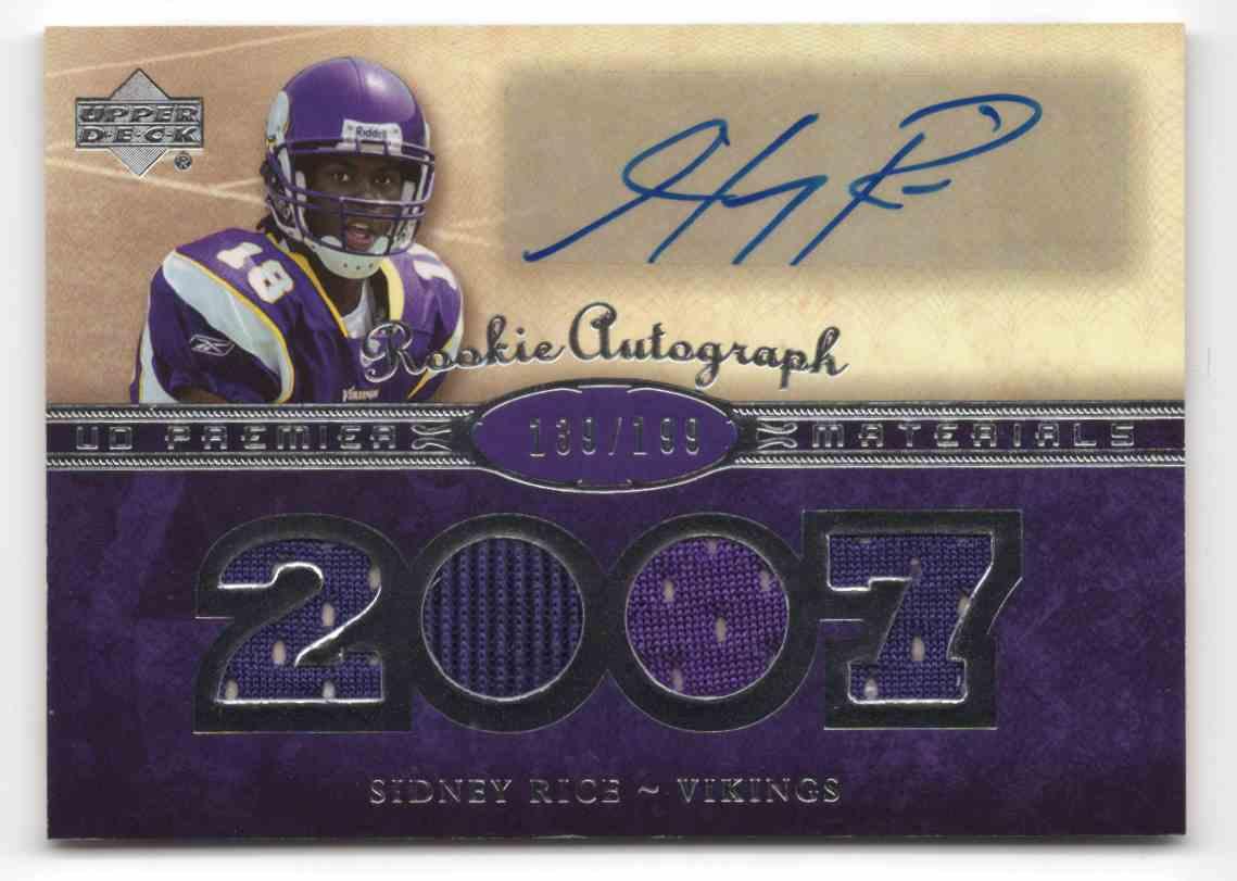 2007 Upper Deck Premier Sidney Rice #160 card front image