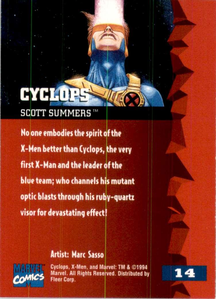 1995 X-Men Ultra Cyclops #14 card back image