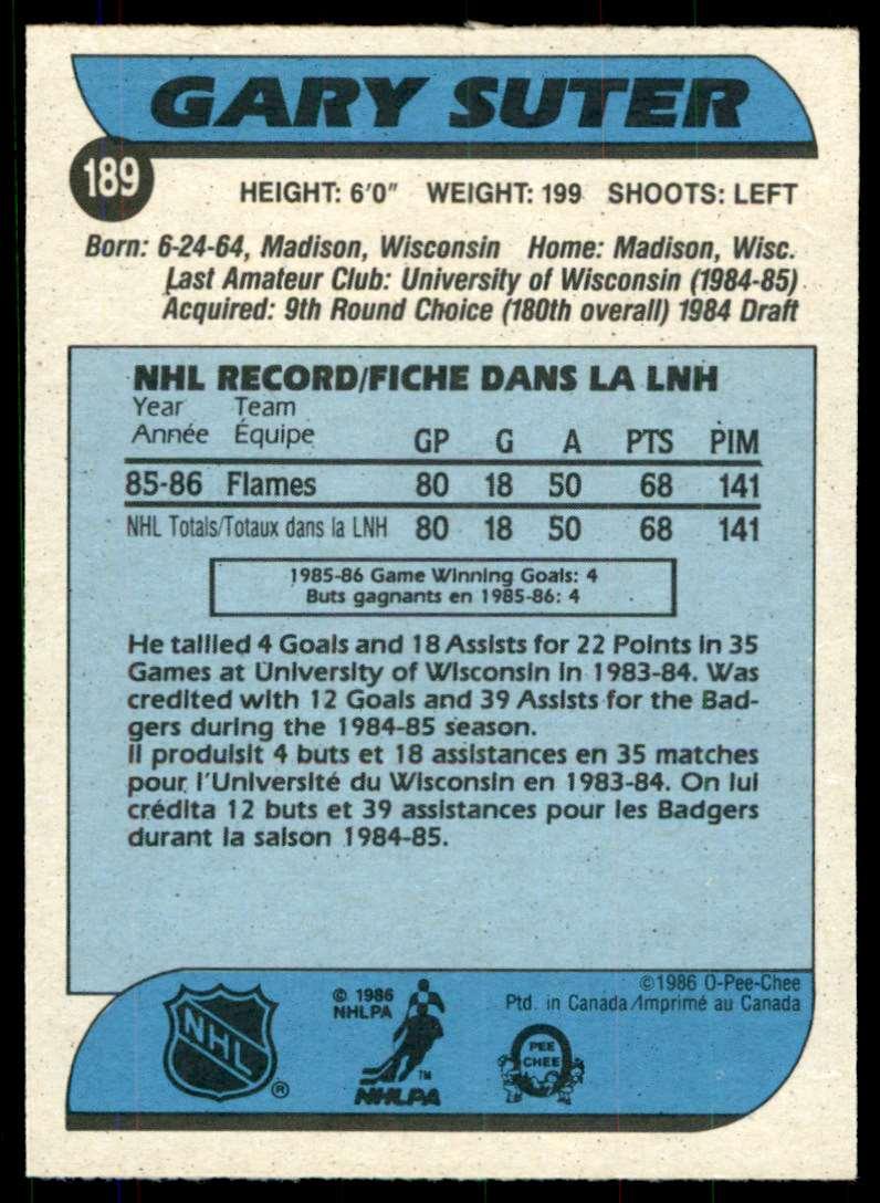 1986-87 OPC Gary Suter #189 card back image