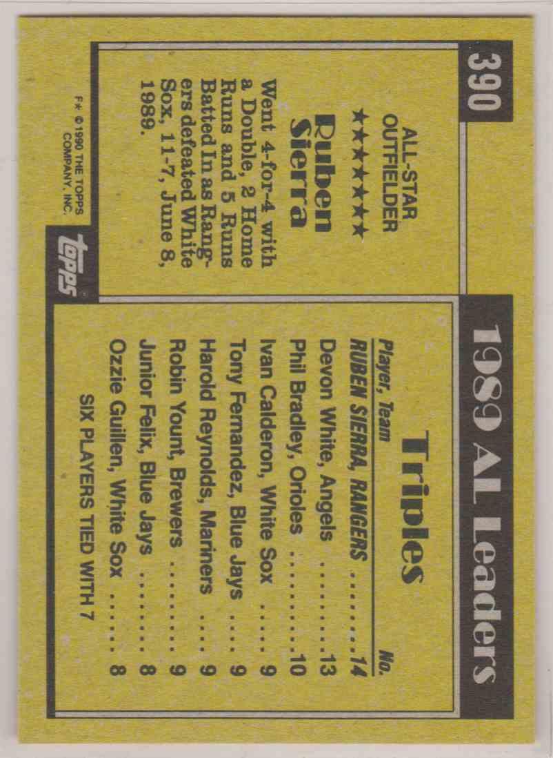 1990 Topps All-Star Ruben Sierra #390 card back image