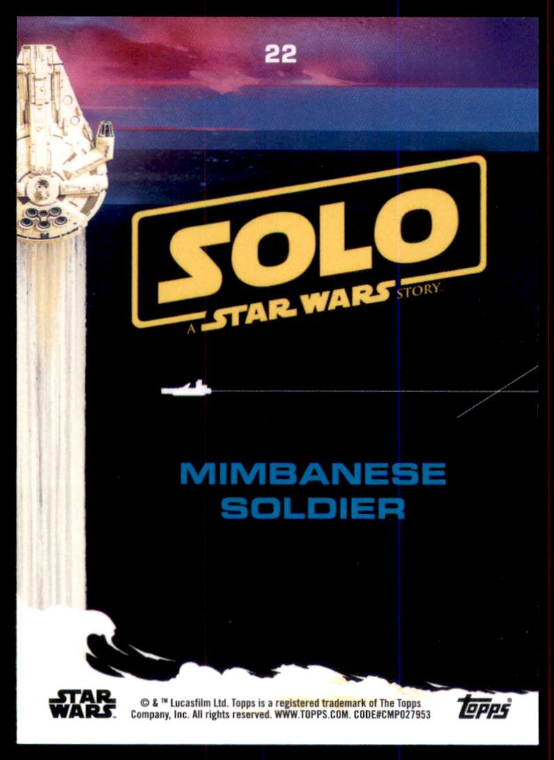 2018 Solo A Star Wars Story Mimbanese Soldier #22 card back image