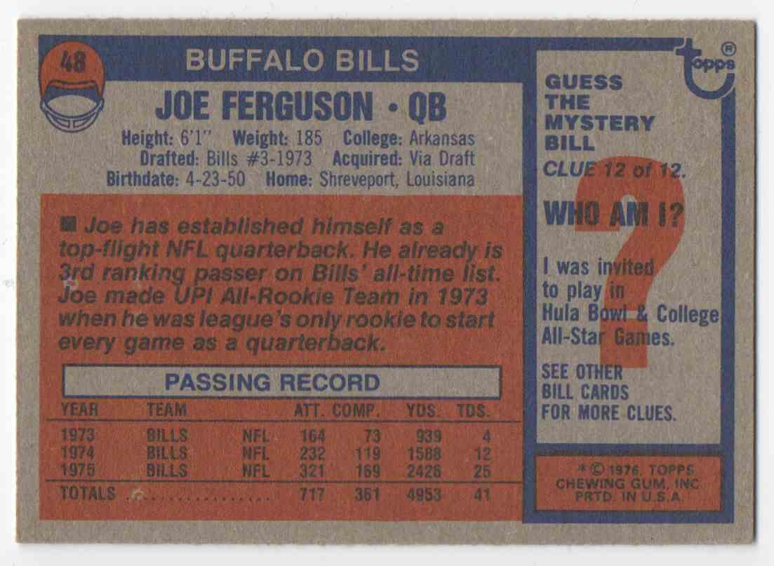 1976 Topps Joe Ferguson #48 card back image