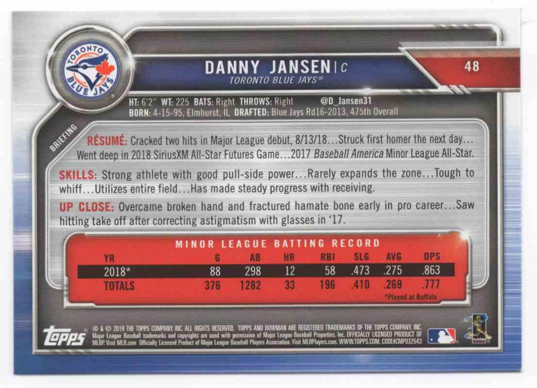 2019 Bowman Danny Jansen #48 card back image