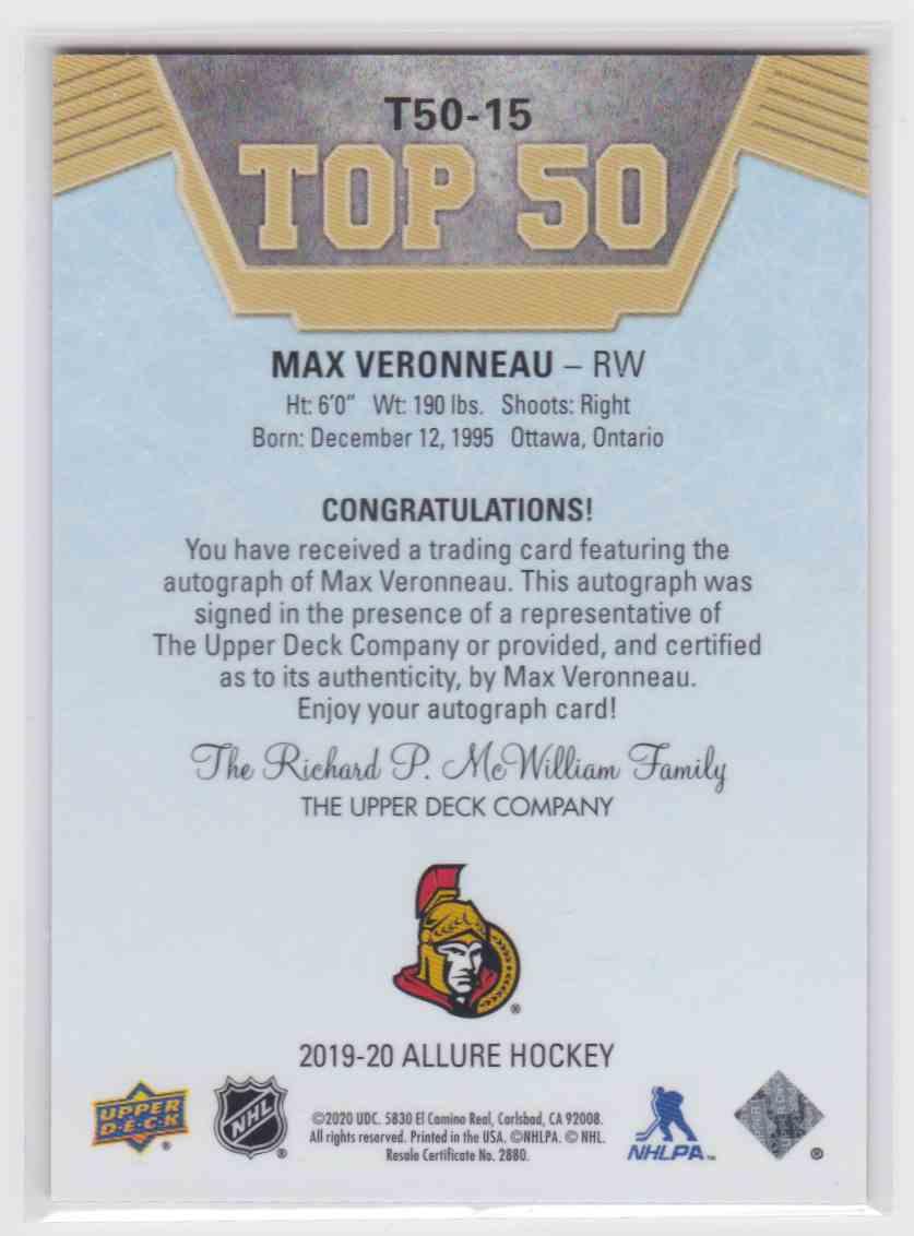 2019-20 Upper Deck Hockey Allure Max Veronneau - Top 50 #T50-15 card back image