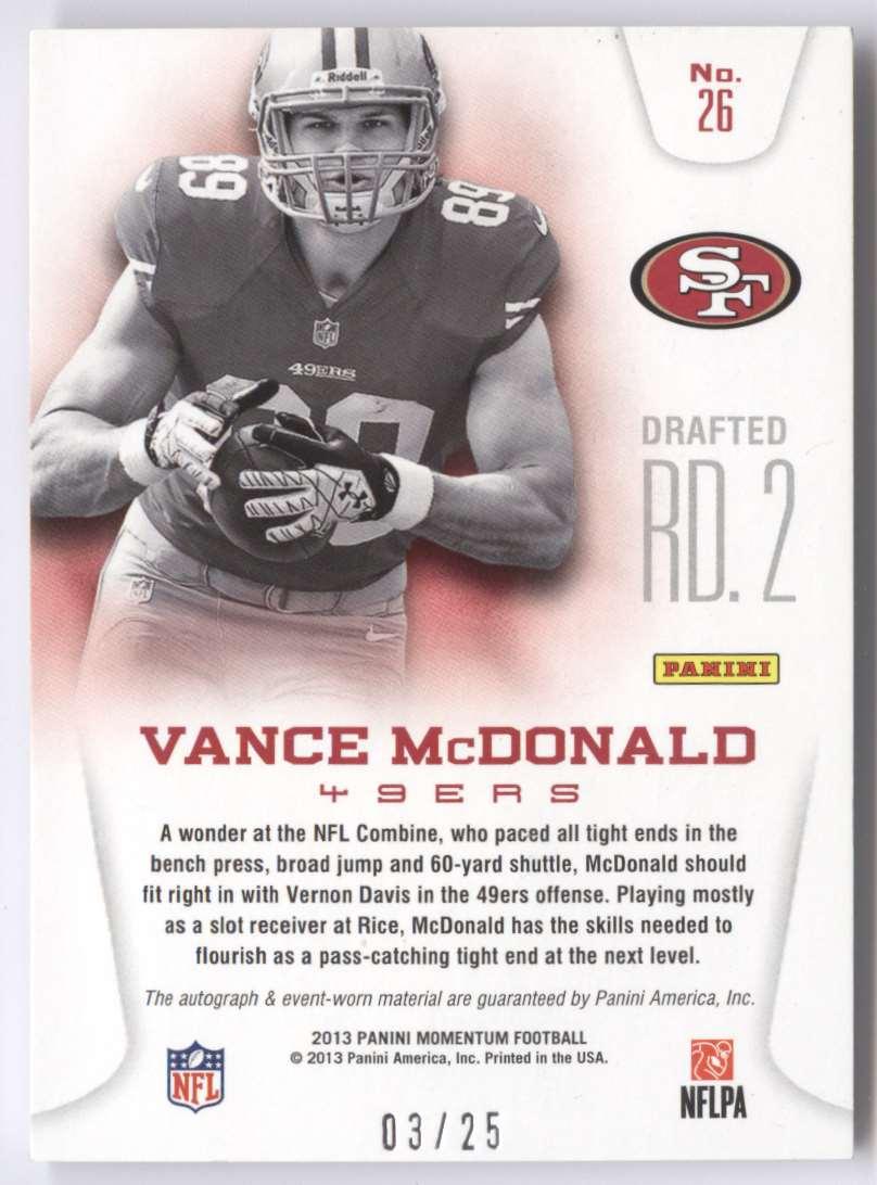 2013 Panini Momentum Rookie Team Threads Quad Materials Signatures Vance McDonald #26 card back image