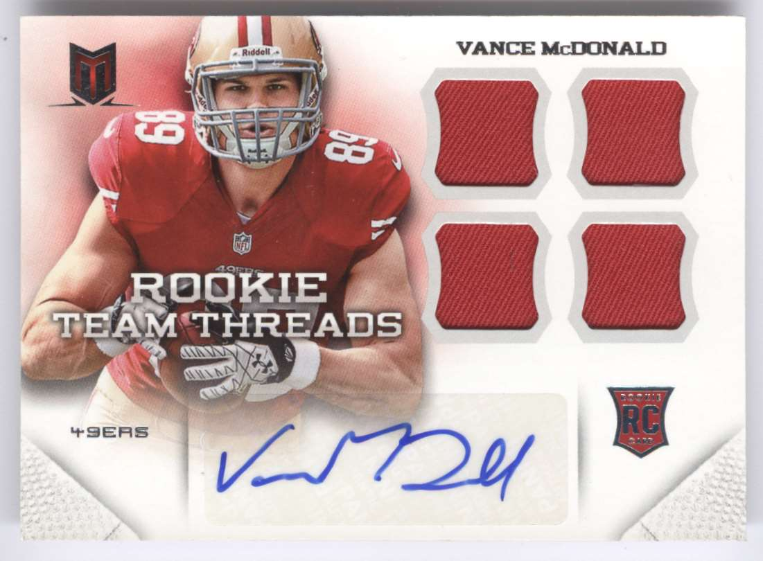 2013 Panini Momentum Rookie Team Threads Quad Materials Signatures Vance McDonald #26 card front image