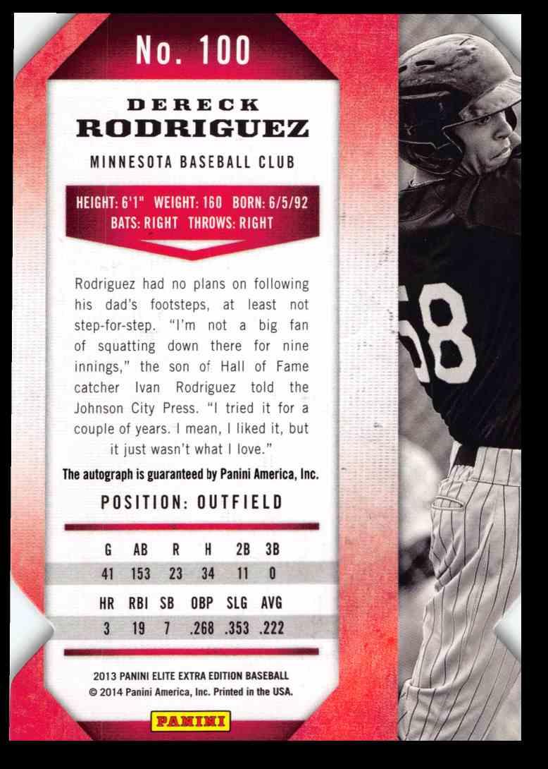 2013 Panini Elite Extra Edition Dereck Rodriguez #100 card back image
