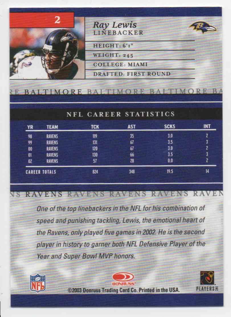 2003 Donruss Elite Ray Lewis #2 card back image