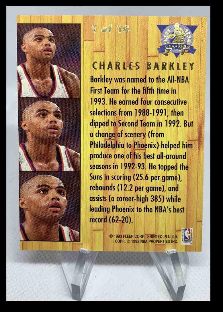 1993-94 Fleer Ultra Charles Barkley 1st Team All-NBA #1 card back image