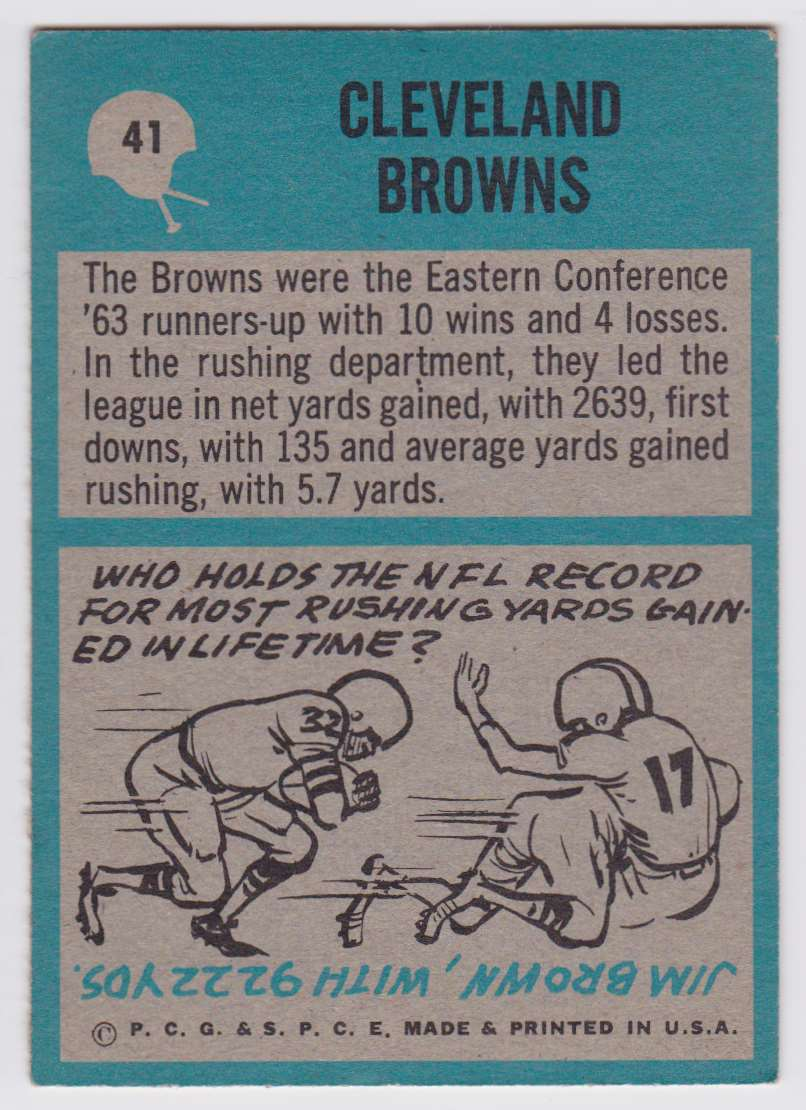 1964 Pcgc Browns Team #41 card back image