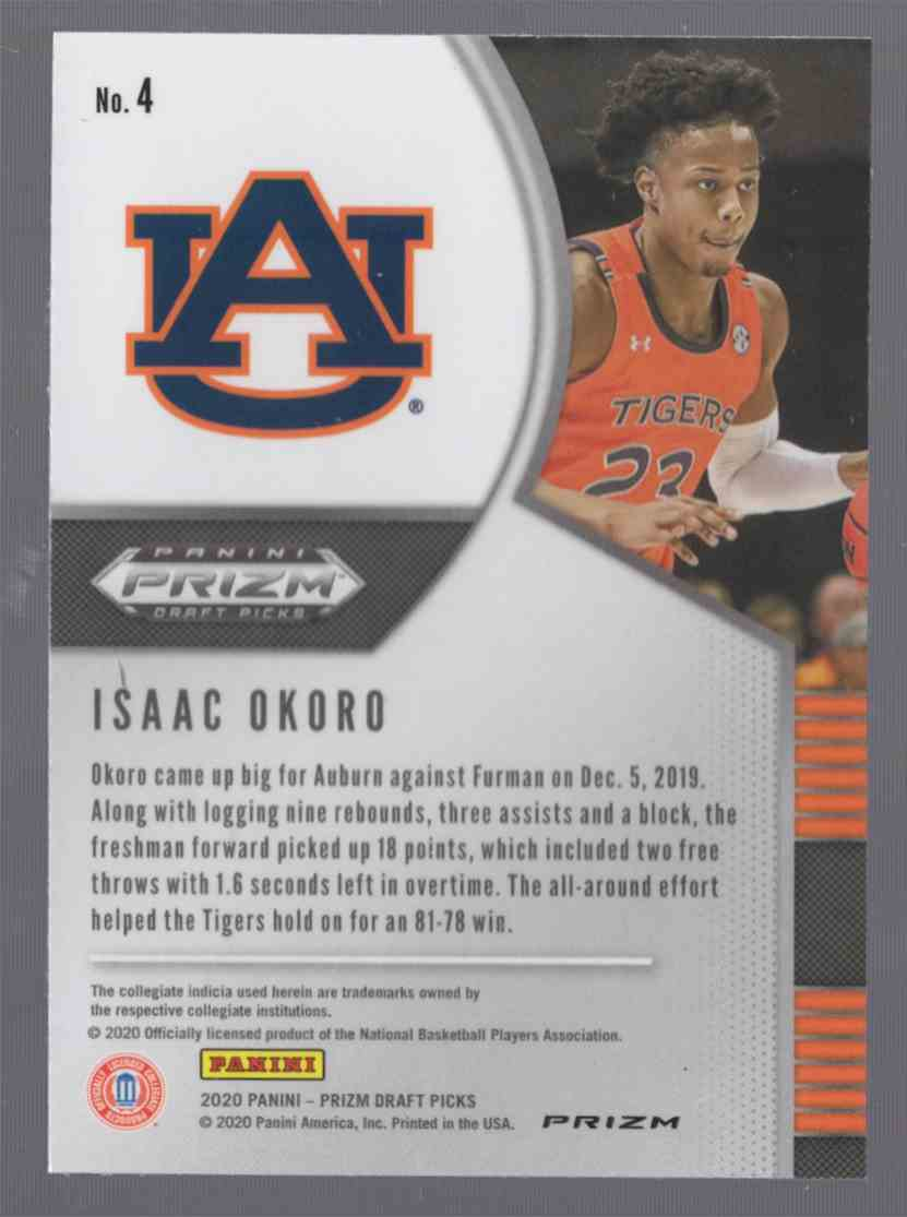 2020-21 Panini Prizm Draft Picks Prizms Red Ice Isaac Okoro #4 card back image