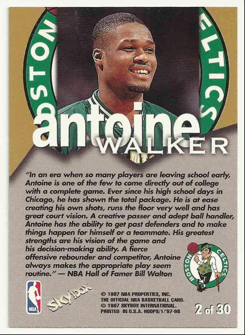 1997-98 Hoops Talkin Hoops Antoine Walker #2 card back image
