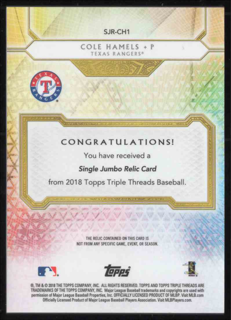 2018 Topps Triple Threads Unity Single Jumbo Relics Cole Hamels #SJRCH1 card back image