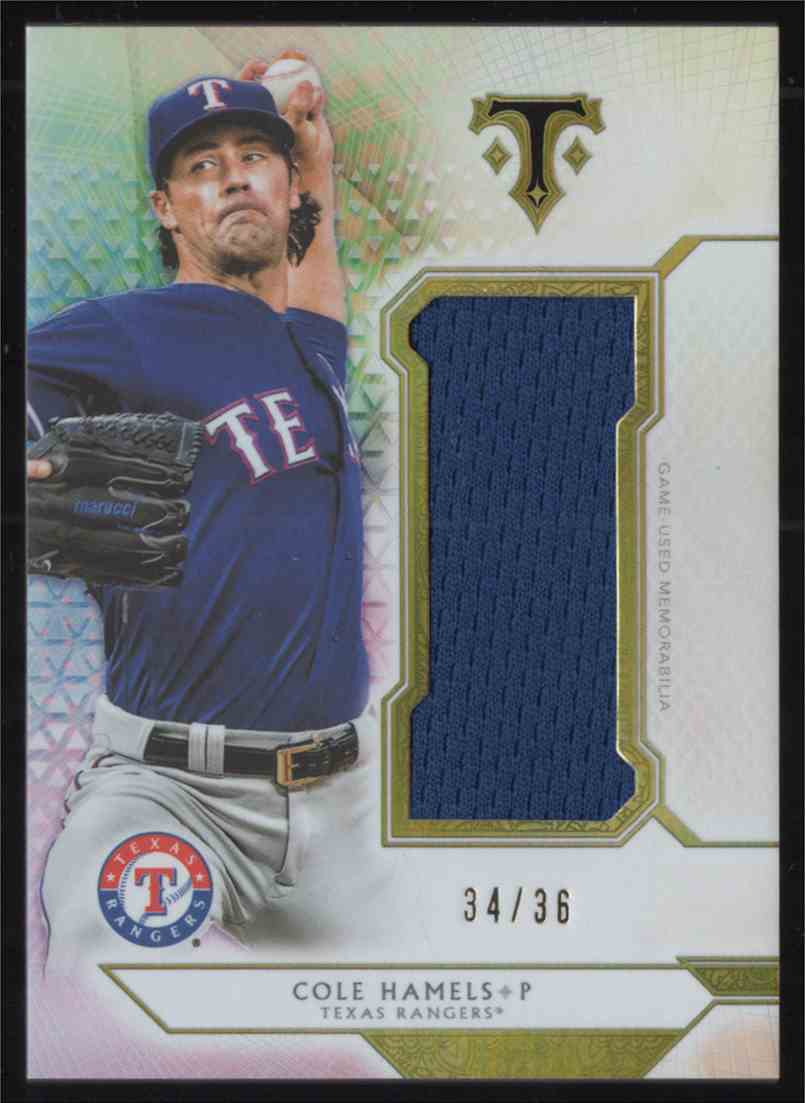 2018 Topps Triple Threads Unity Single Jumbo Relics Cole Hamels #SJRCH1 card front image