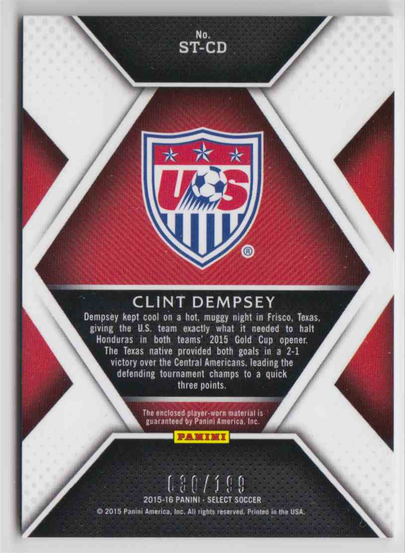2015 Panini Select Stars Memorabilia Clint Dempsey #ST-CD card back image
