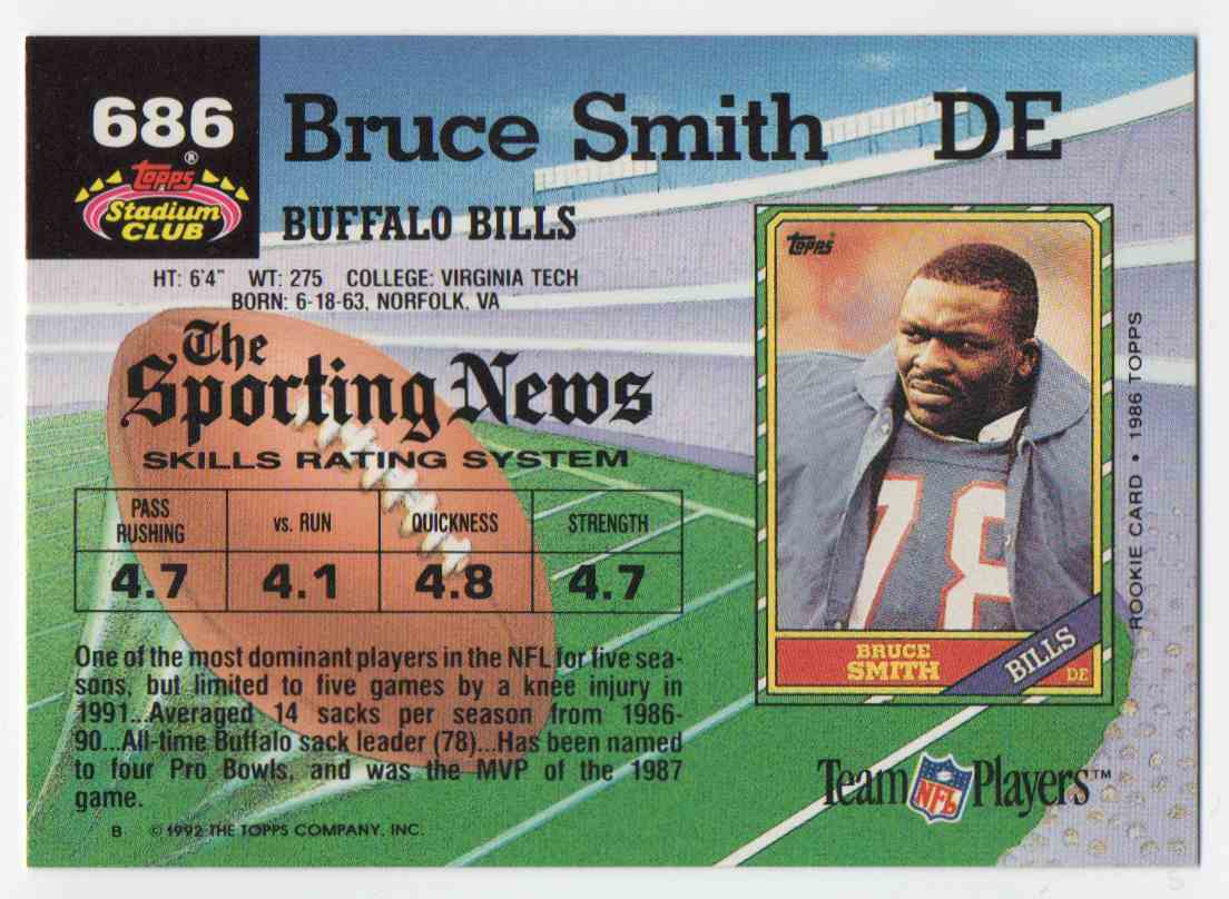 1992 Stadium Club Bruce Smith #686 card back image