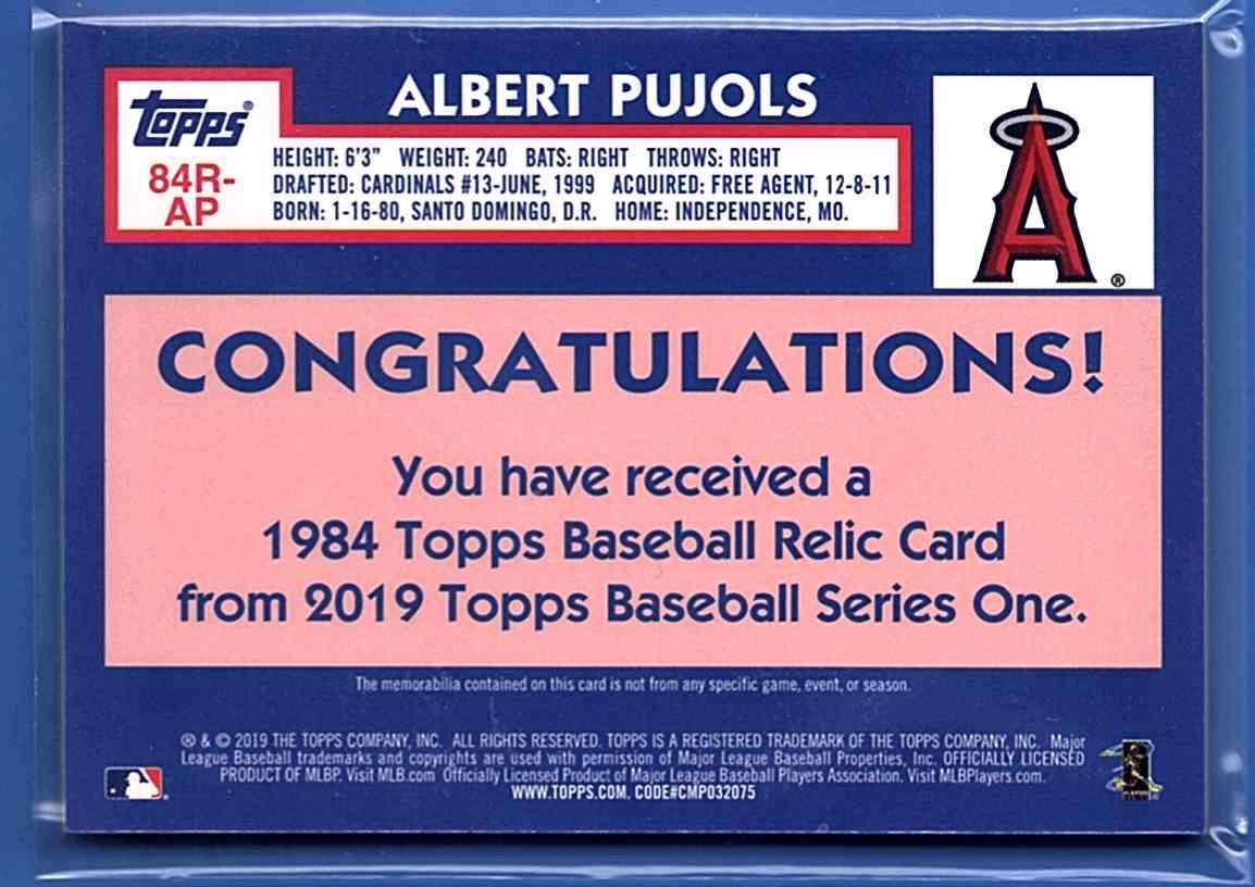 2019 Topps '84 Topps Relics Red Albert Pujols #84R-AP card back image