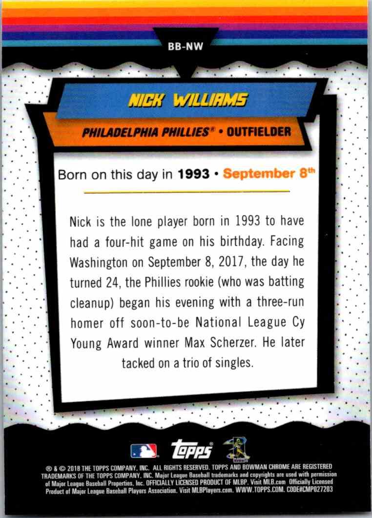 2018 Bowman Chrome Bowman Birthdays Nick Williams #BB-NW card back image