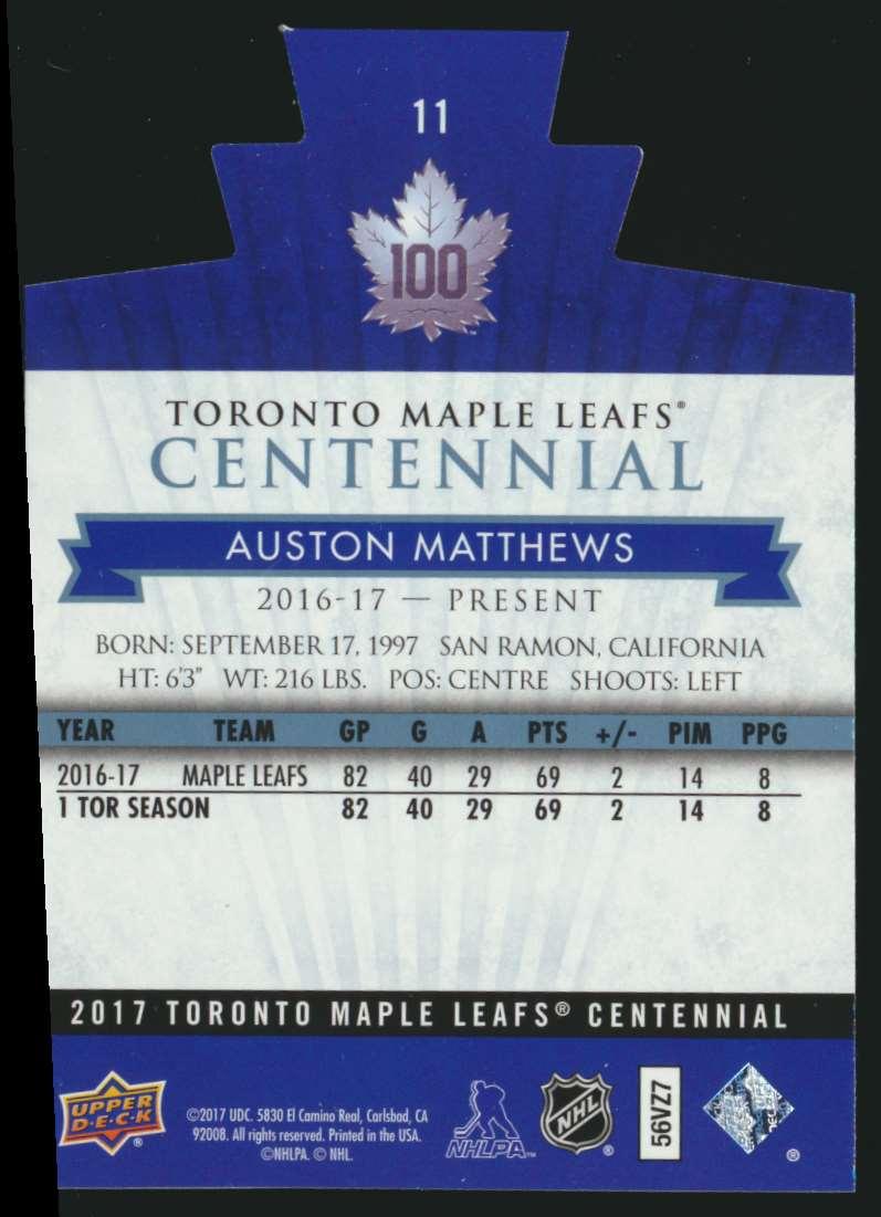 2017-18 UD Maple Leafs Centennial Die Cut Auston Matthews #11 card back image