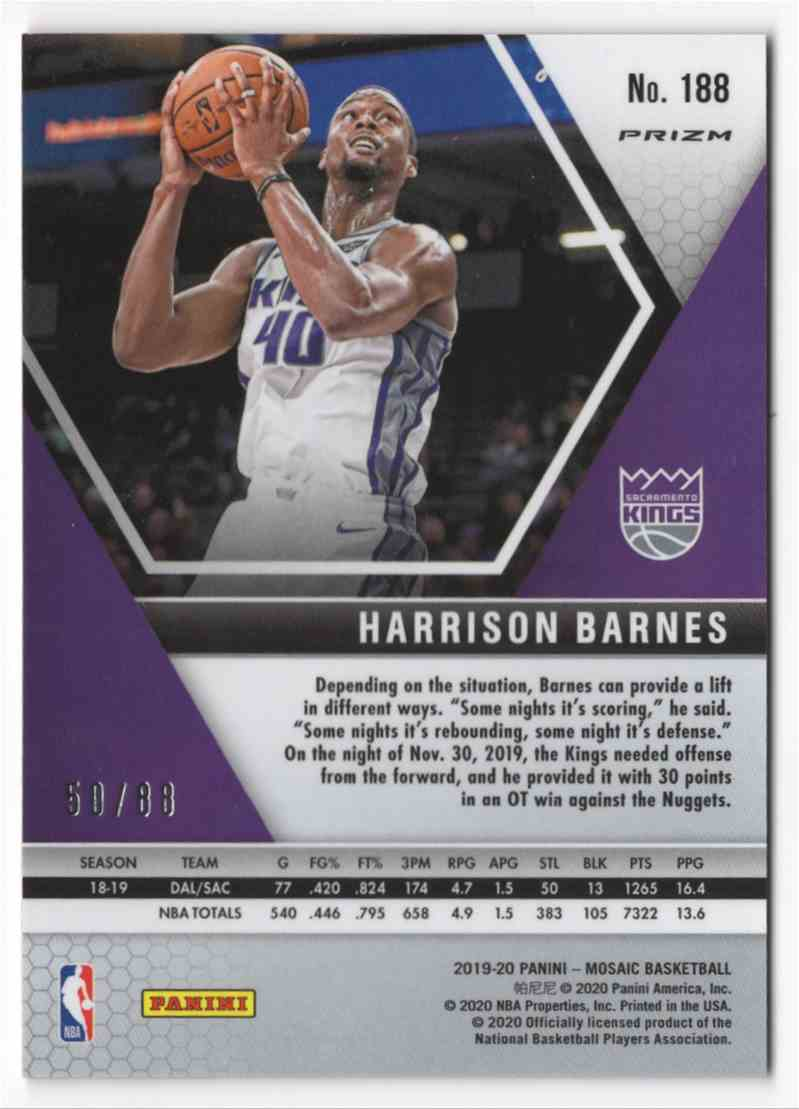 2019-20 Panini Mosaic Mosaic Choice Red Fusion Harrison Barnes #188 card back image
