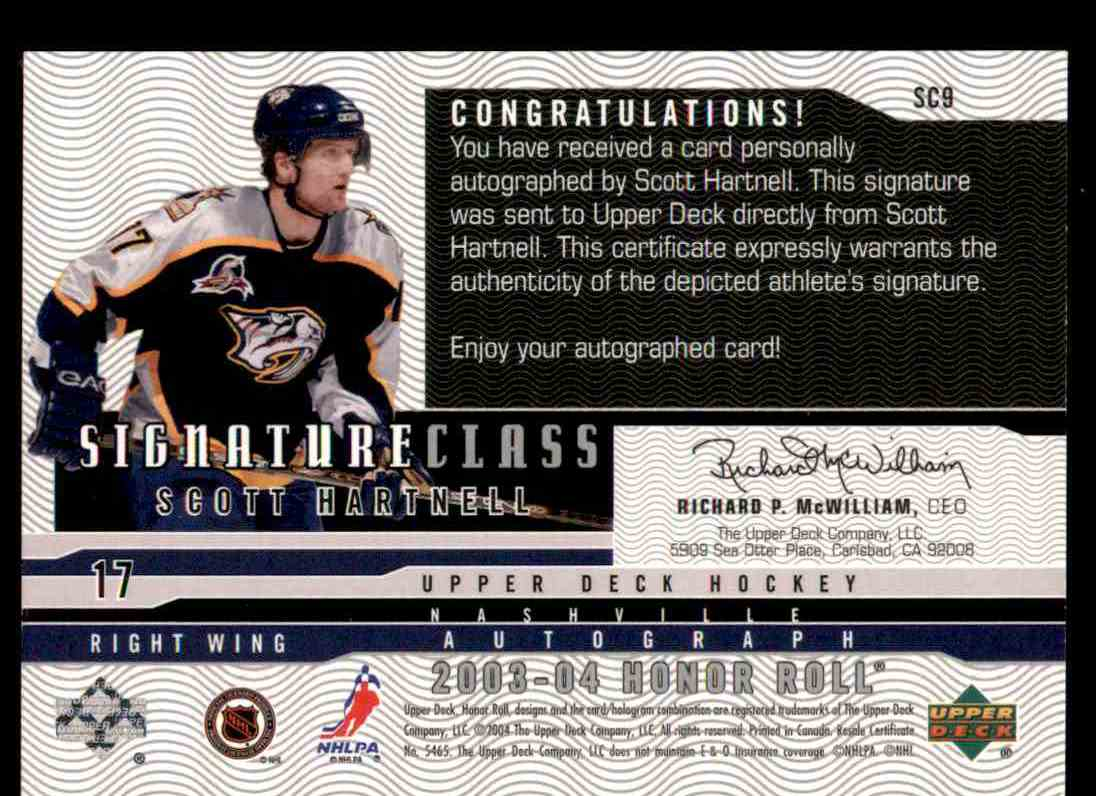 2003-04 Upper Deck Honor Roll Signature Class Scott Hartnell #SC9 card back image