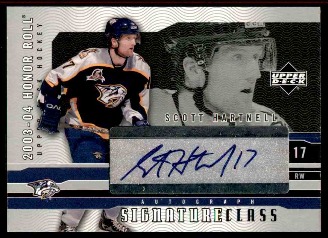 2003-04 Upper Deck Honor Roll Signature Class Scott Hartnell #SC9 card front image