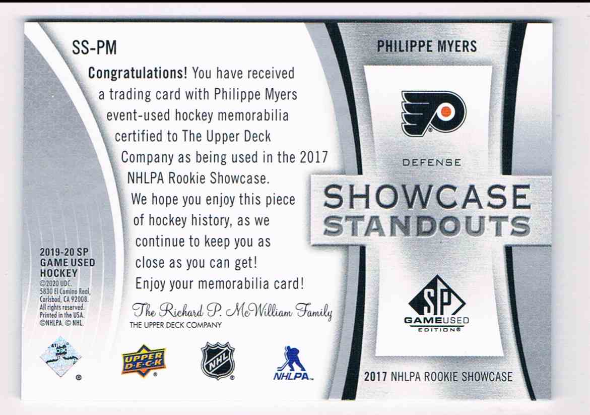 2019-20 SP Game Used Showcase Standouts Phillippe Myers #SS-PM card back image