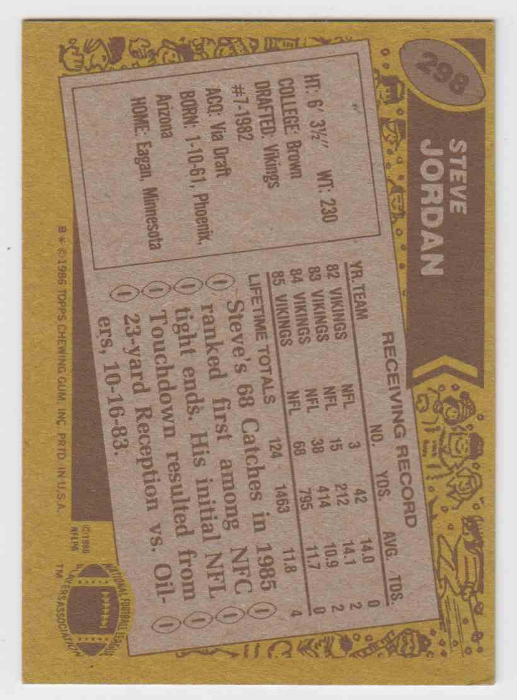 1986 Topps Steve Jordan #298 card back image