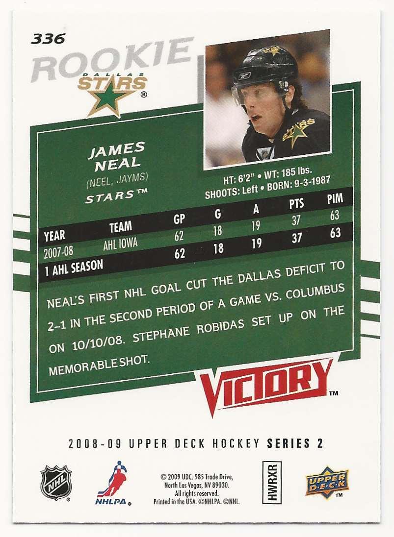2008-09 Upper Deck Victory James Neal #336 card back image