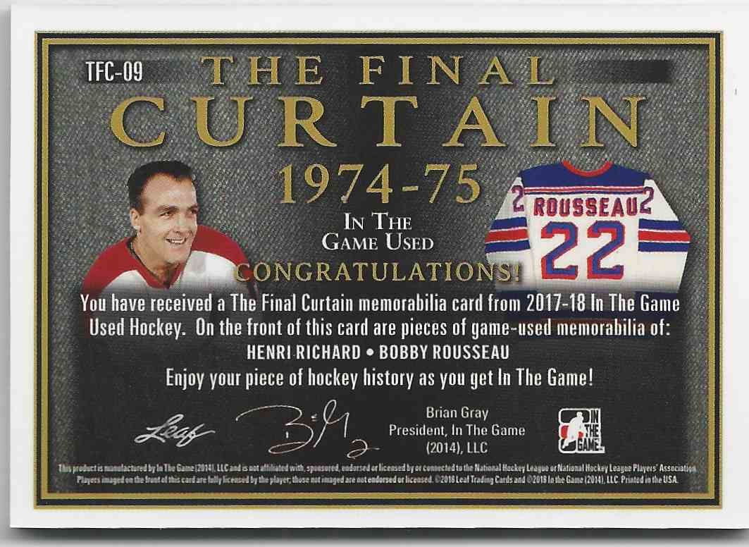 2017-18 ITG Used The Final Curtain Memorabilia Silver Spectrum Henri Richard Bobby Rousseau #TFC-09 card back image