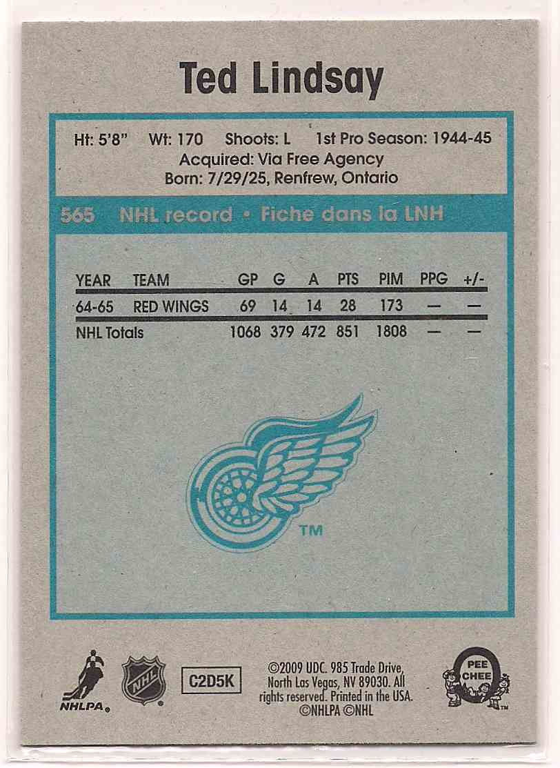 2009-10 0-Pee-Chee Retro Ted Lindsay #565 card back image