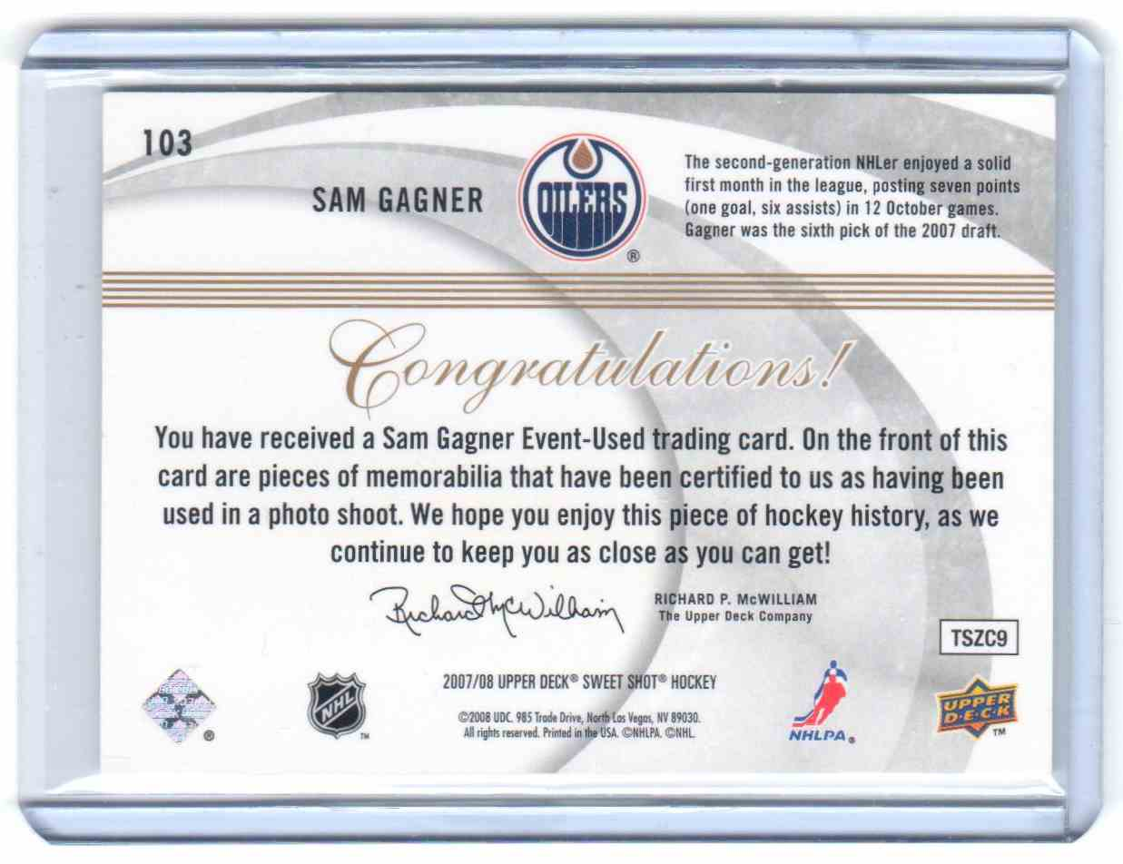 2007-08 Upper Deck Sweet Shot Sam Gagner #103 card back image