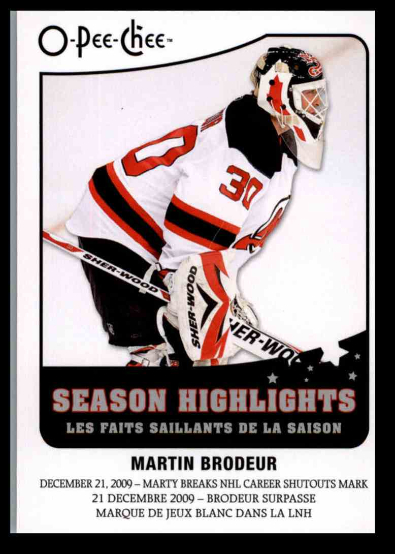 2010 11 Upper Deck Opc Season Highlights Martin Brodeur Sh 6