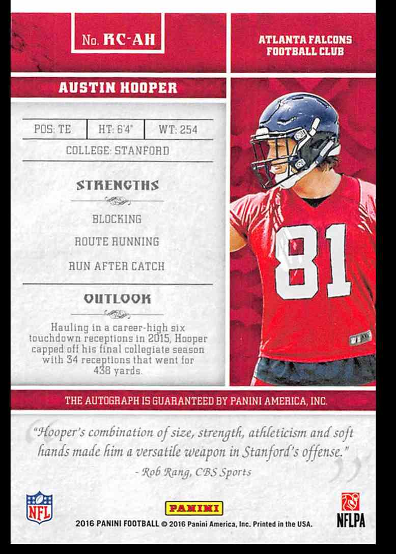 2016 Panini Rookie Calligraphy Austin Hooper #5 card back image