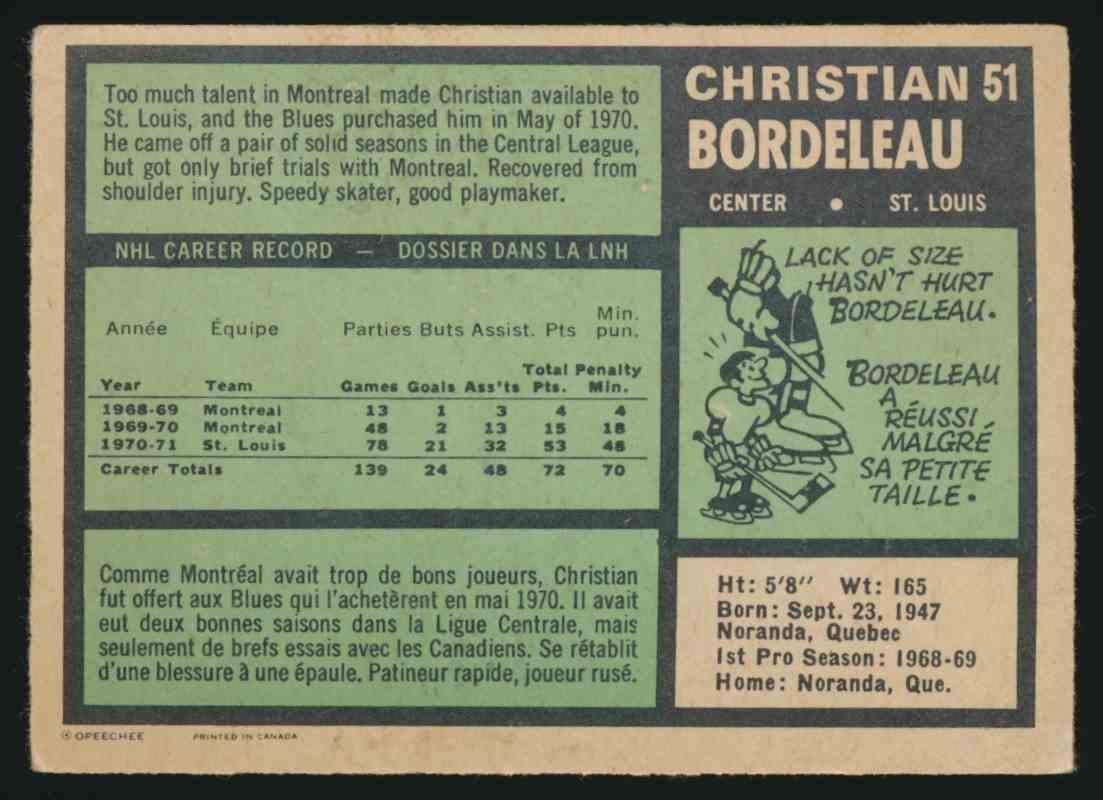 1971-72 O-Pee-Chee Christian Bordeleau #51 card back image