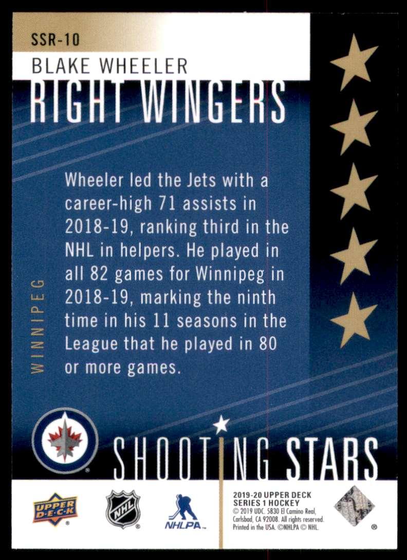 2019-20 Upper Deck Shooting Stars Right Wingers Blake Wheeler #SSR10 card back image